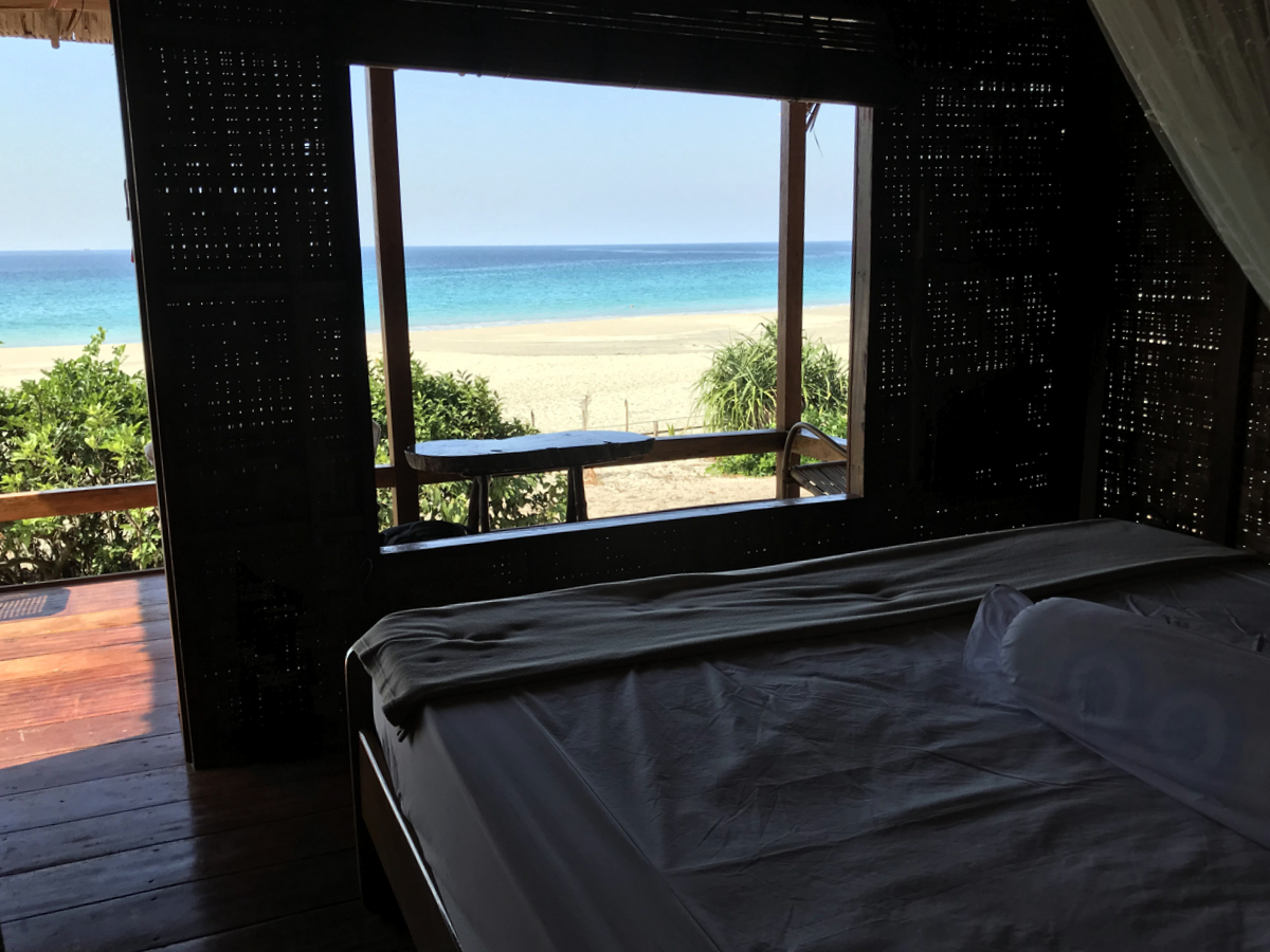 Panoramic window beach view