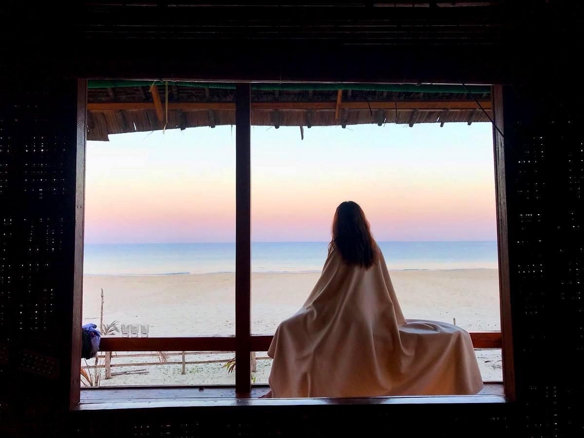 Panorama window view from Beach Bungalow in Sin Htauk